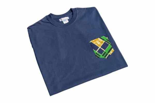 tshirt boyfriend bleu marine poche wax savane curly nights