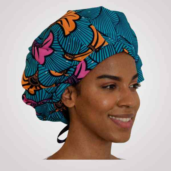 bonnet wax satin réglable curly nights ocean