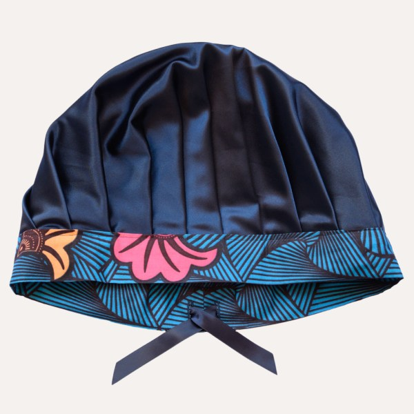 Bonnet de nuit réglable satin coton boucles crépus cheveux frisés curly nights OCEAN