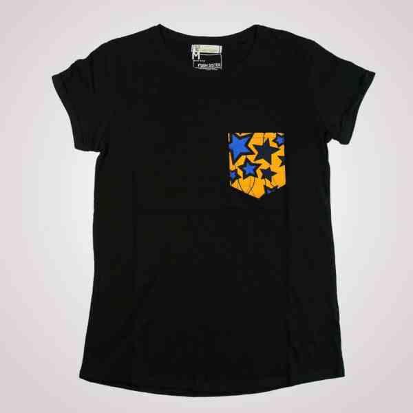 tshirt noir girlfriend blue star poche en wax pyjama 100% coton