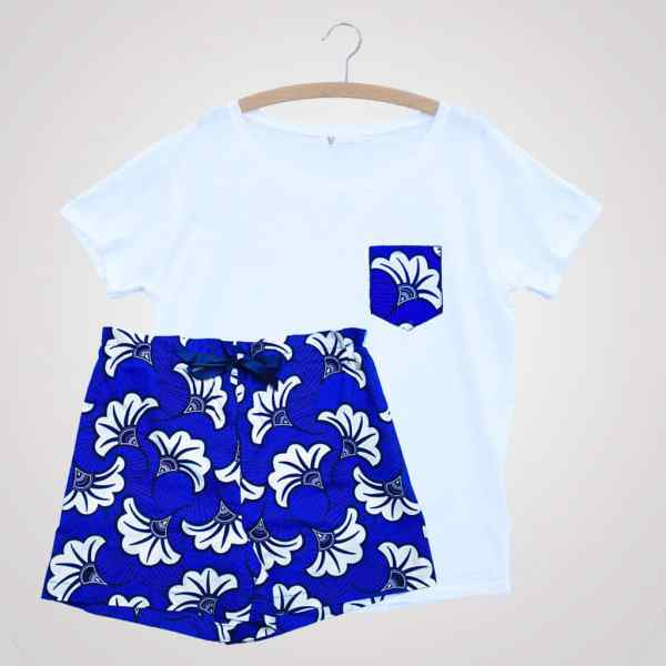 t shirt de pyjama avec poche wax curly nights flora blue