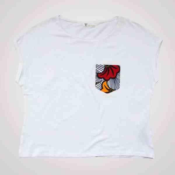 t-shirt blanc loose poche wax love fleurs de mariage