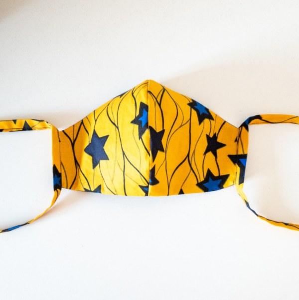 masque anti-projection lavable réglable coton wax coronavirus covid-19 protection visage nez bouche BLUE STAR