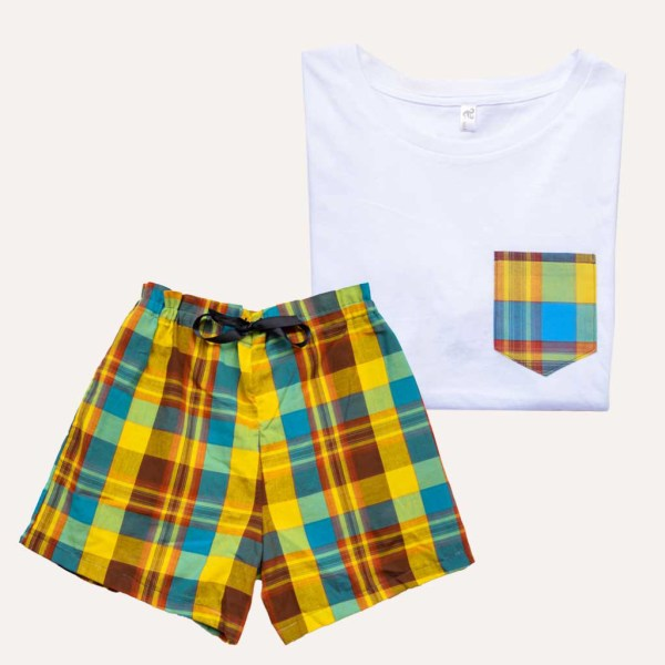 Pyjama Short T-Shirt Madras Bleu Coton Curly Nights