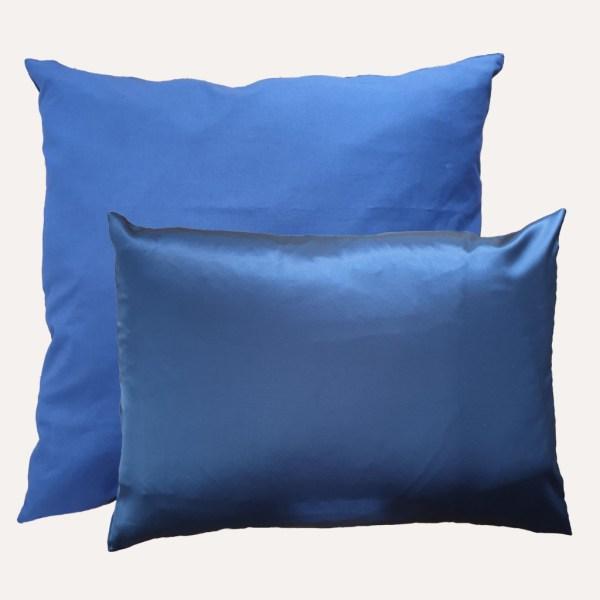 taie d'oreiller double face coton satin unie bleu marine carrée et rectangulaire