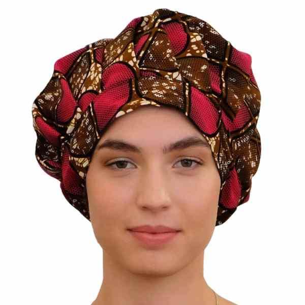 bonnet satin wax nuit réglable curly nights cheveux bouclés crépus PINK CHOCOLATE