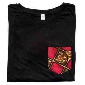 t-shirt de pyjama noir curly nights poche en wax PINK CHOCOLATE