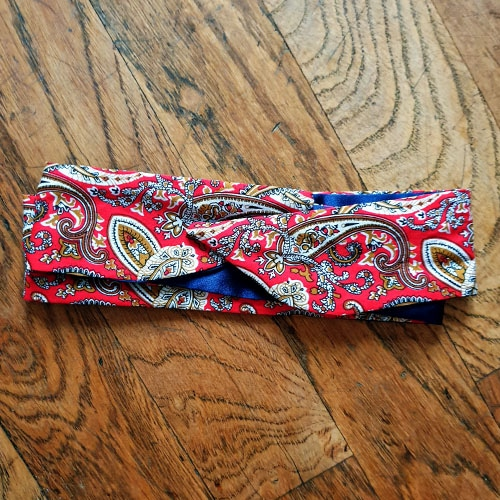 flexibles headband baumwolle polyester satin curly nights cachemire paisley rot