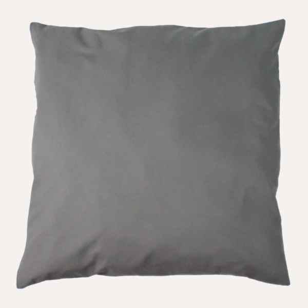 taie d'oreiller double face coton satin unie gris carré
