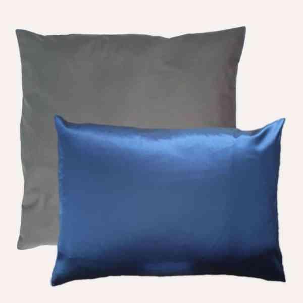 taie d'oreiller double face coton satin unie gris paire carré