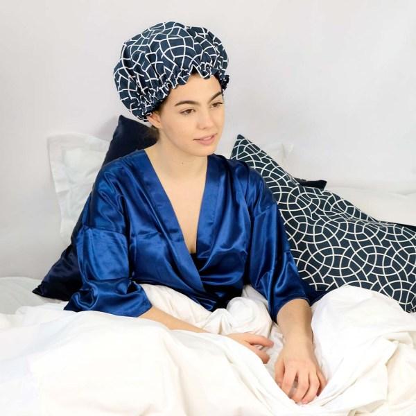 bonnet satin wax nuit élastique curly nights cheveux bouclés crépus BLUE MOSAIC