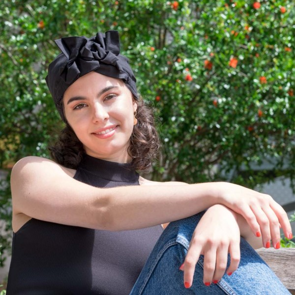 turban satin foulard curly nights noir profond