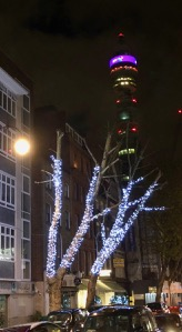 View of the BT Tower from Charlotte Street, London