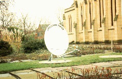 SMS satellite dish outside Red Rose Radio