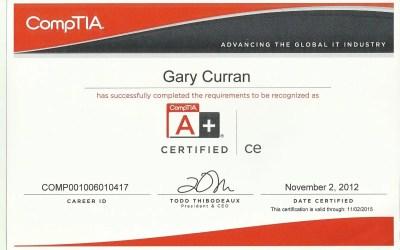 CompTIA A+ Technician 2009 Certificate – 2013
