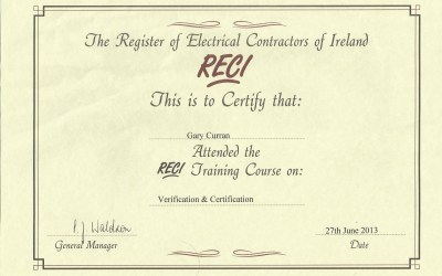 Registered Electrical Contractors Testing Certificate – 2013