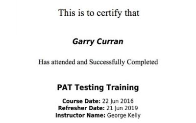 Certificate of Training – PAT Testing Training 2016