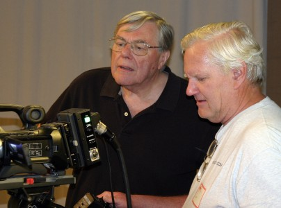 """Fred Barzyk, left, with cameraman Stephen Mann, a former pubcaster at KTEH in San Jose, Calif., now part of KQED. """"I learn something every time I work with him,"""" Mann says of Barzyk. (Photo: Courtesy Stephen Mann)"""