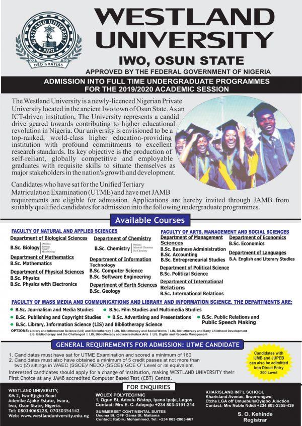 Westland University Post UTME Form2
