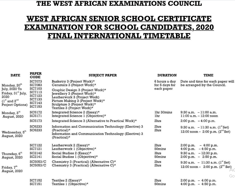 Check WAEC Timetable 2