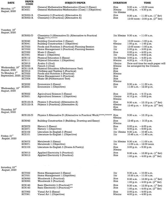 Check WAEC Timetable5