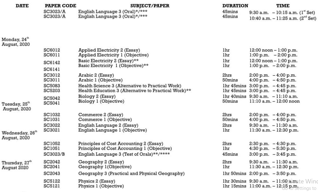 Check WAEC Timetable6