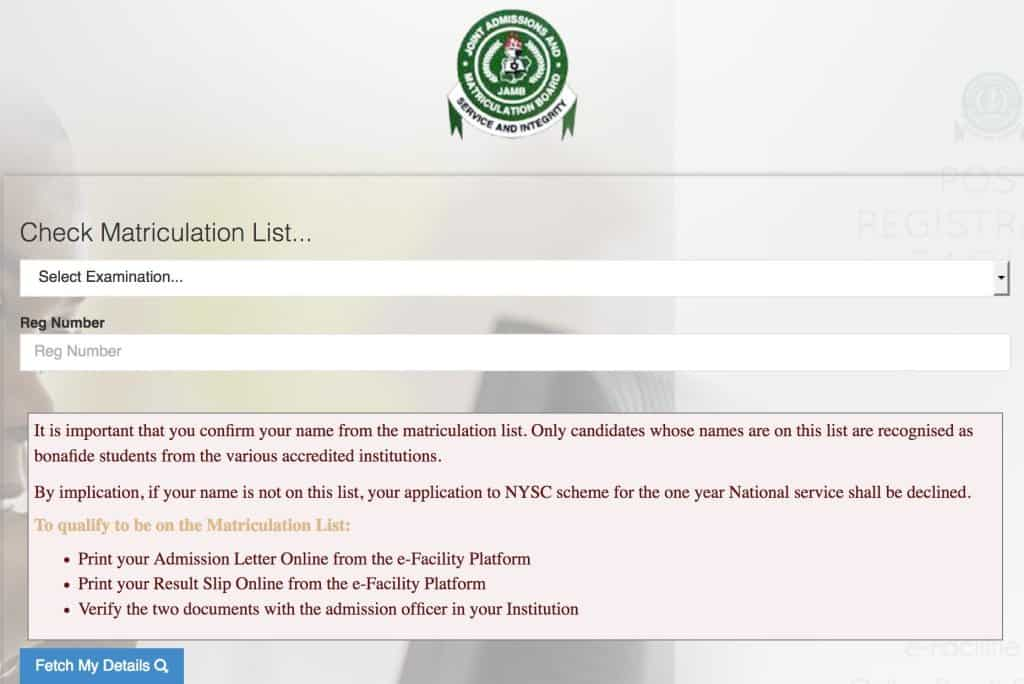 How to Check and Add Your Name to JAMB Matriculation List