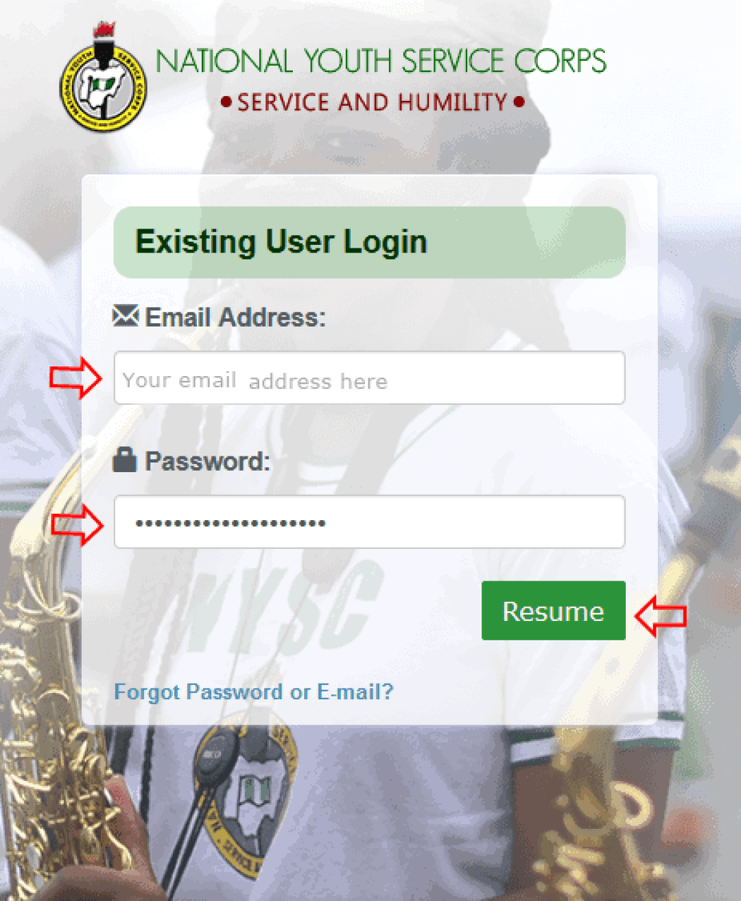 How to login to your NYSC Dashboard 2021