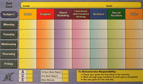 Upper Level Goal Card from Accelerated Christian Education