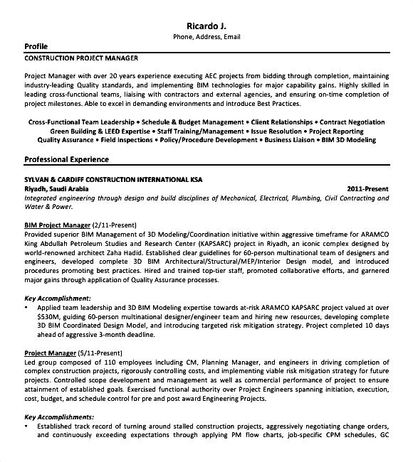construction resume sample pdf free samples examples amp format