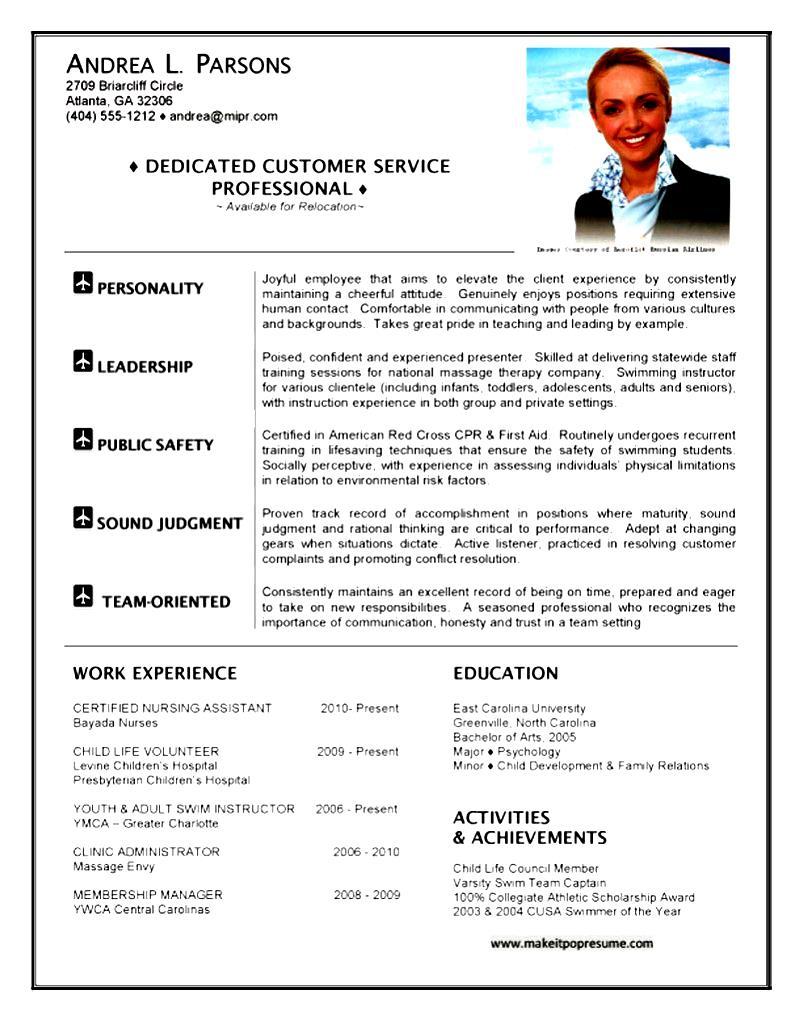 sample flight attendant resume