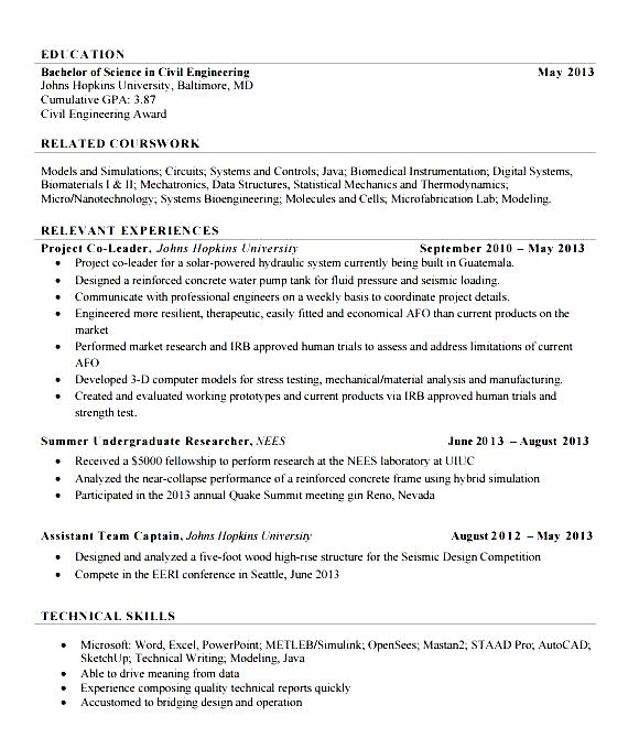 fresher civil engineer resume free samples examples amp format