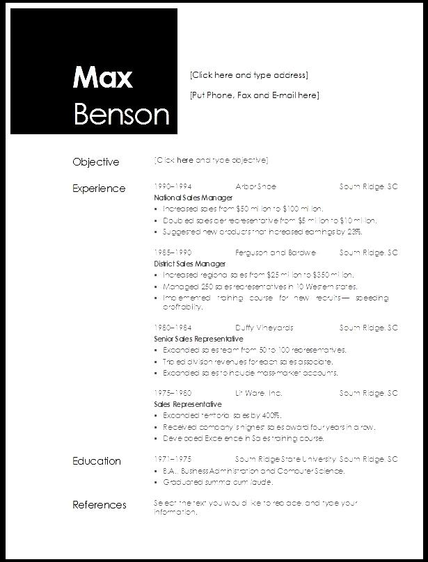 Resume Templates Open Office Org. Chronological Resume Open Office