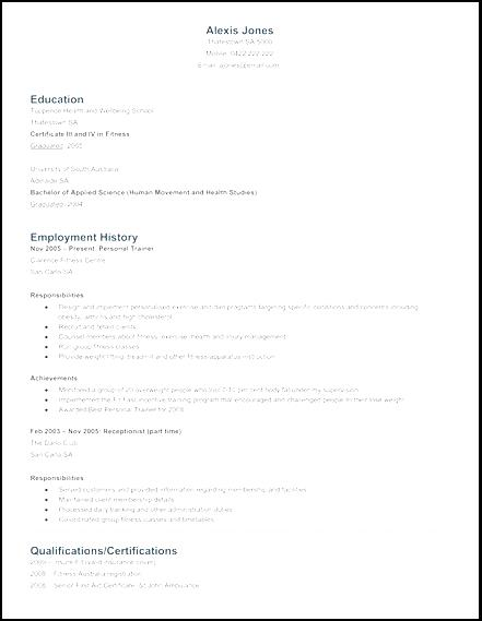 trainer resume format personal trainer resume sample personal trainer