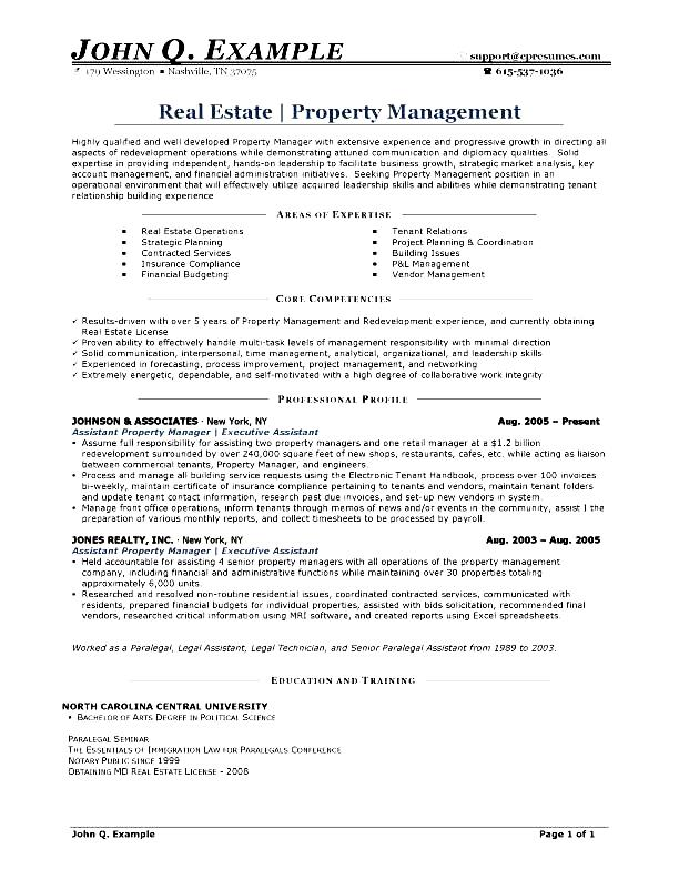 Regional Property Manager Resume. Territory Manager Resume