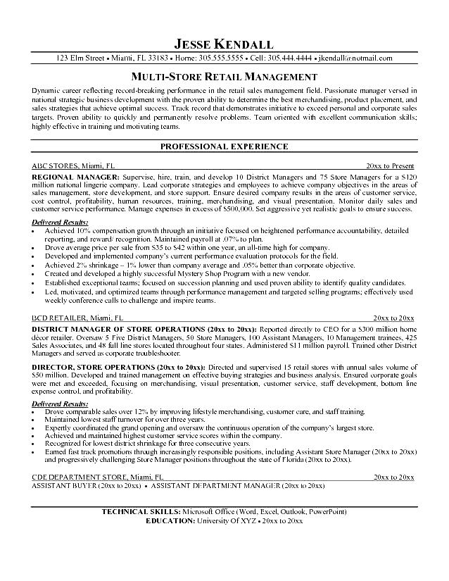 Retail Manager Resume Format. Retail Manager Resume Examples