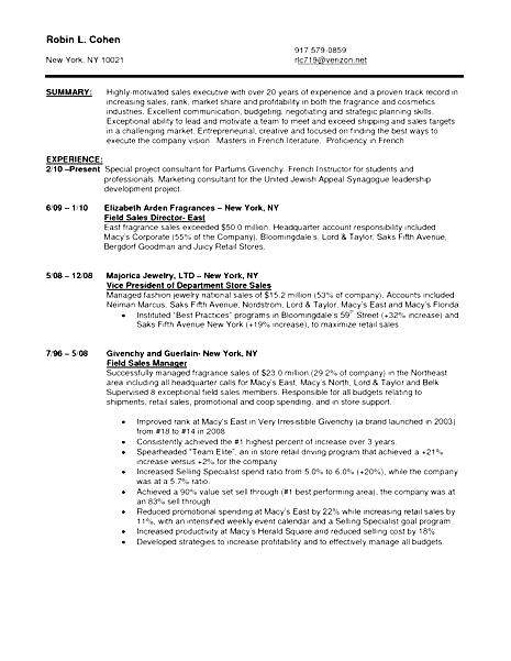 resume for sales in jewelry