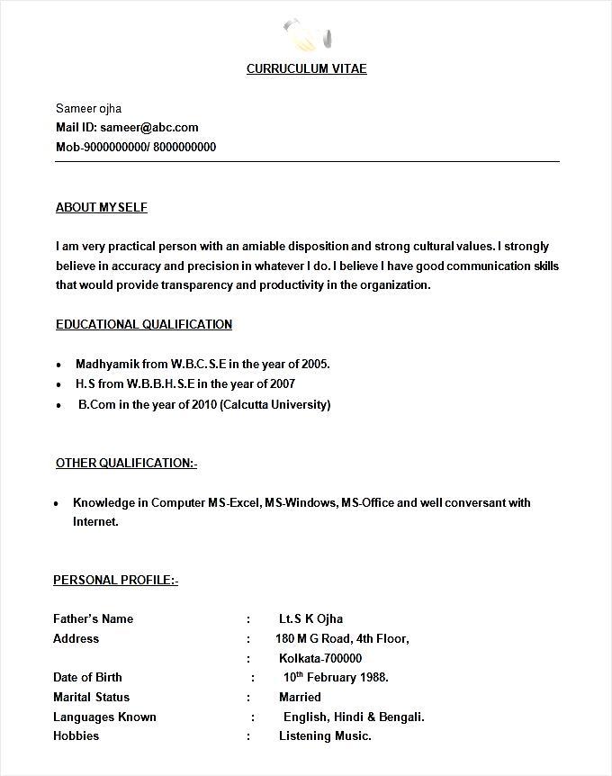 Resume For Bpo Jobs Fresher Doc