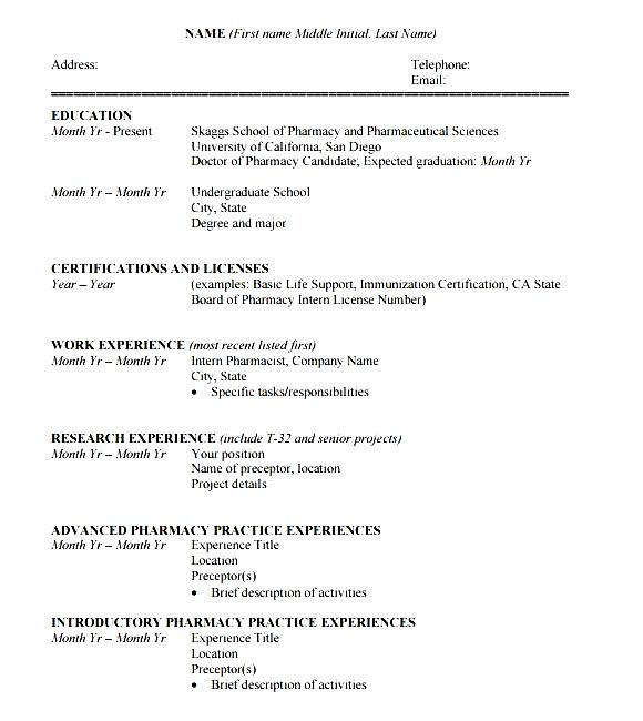 Resume Formats In Doc Curriculum Vitae Format And Examples