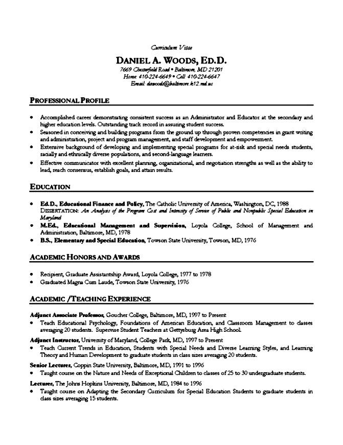 Academic Resume Example. Examples Of Academic Resumes Resume