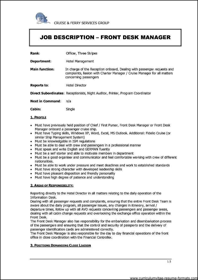 revenue manager in hotel resume