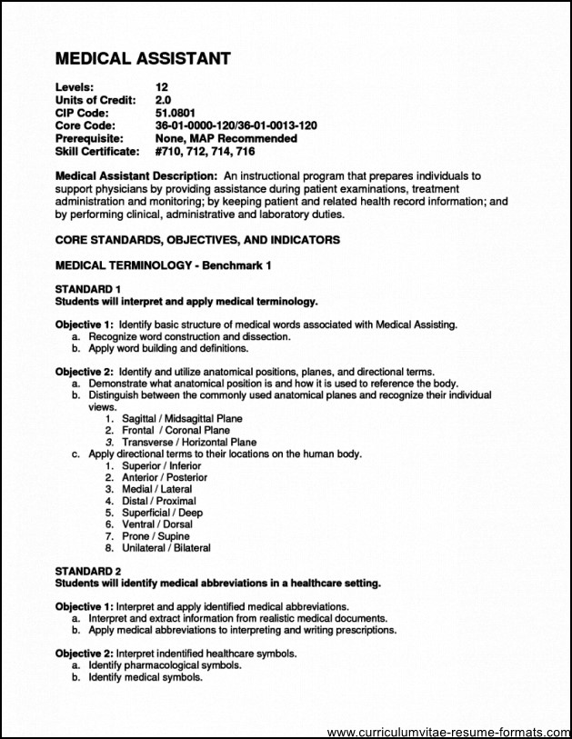 assistant office medical printable design medical assistant resume