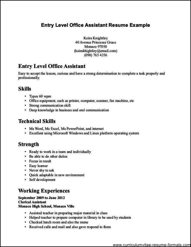 Office Clerk Resume Example - Template