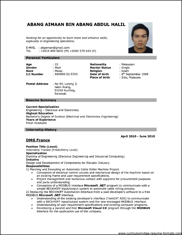 Resume Format Examples For Job Pdf لم يسبق له مثيل الصور Tier3 Xyz