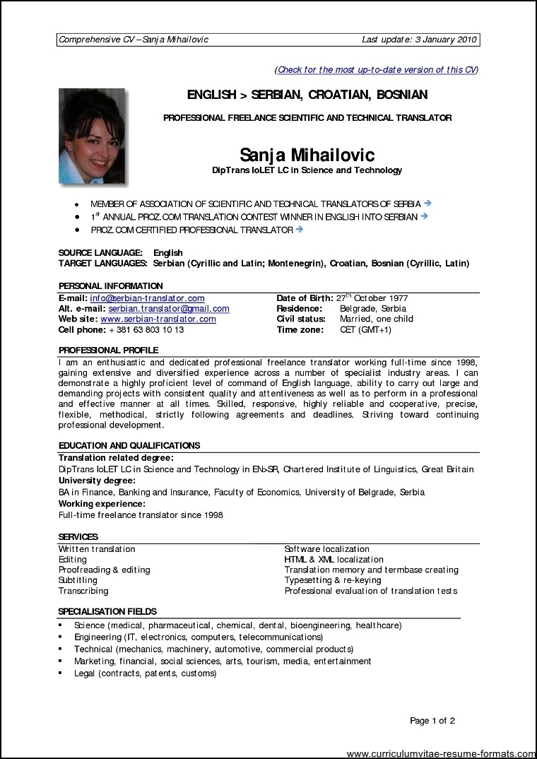 resume format for 1 year experienced it professionals free samples