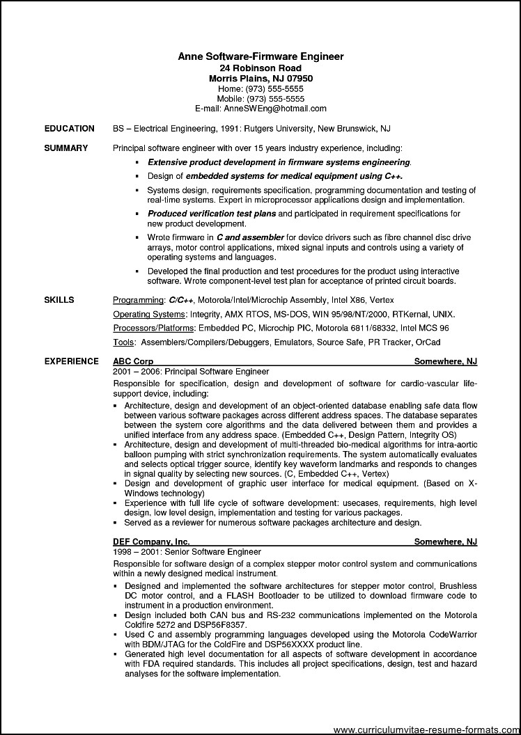 resume samples for experienced software professionals free