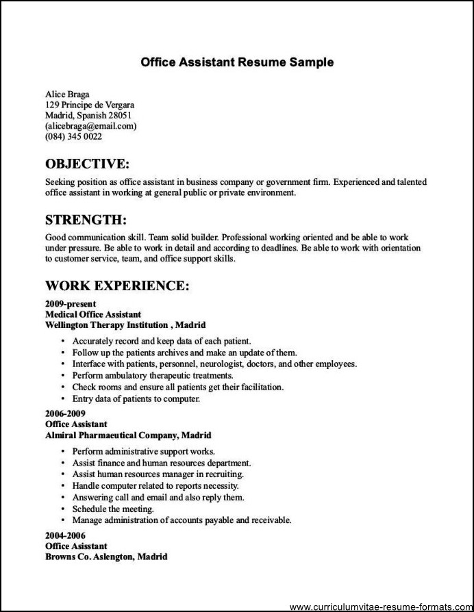 resume samples for office jobs free samples examples amp format