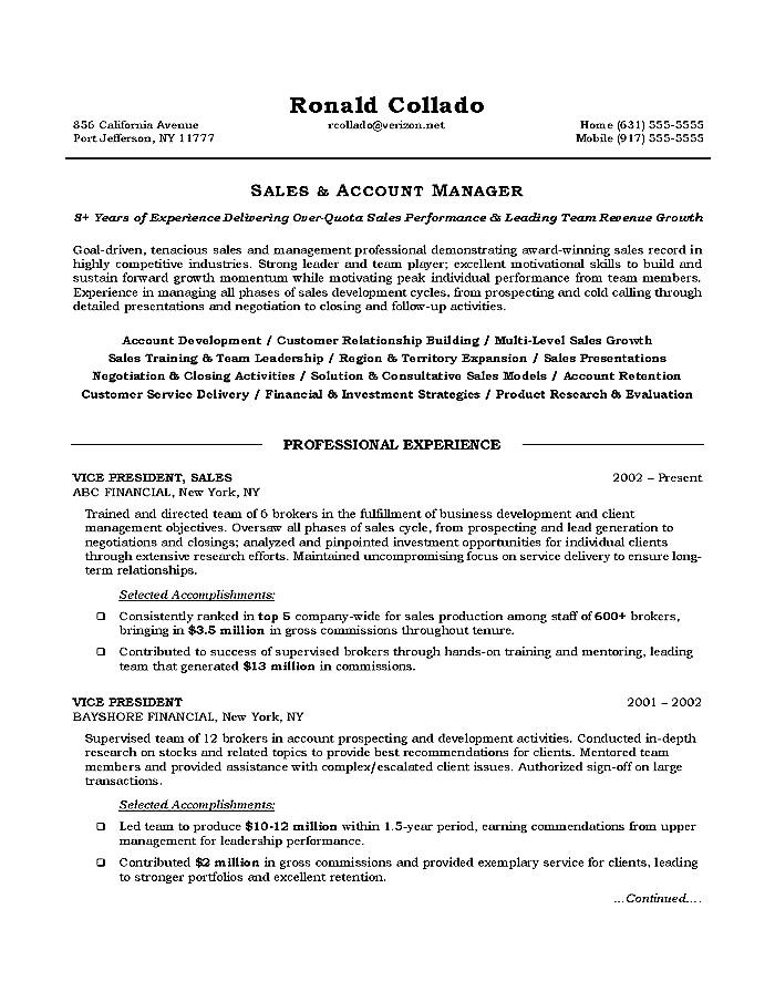 executive resume objective sales executive resume objective sales