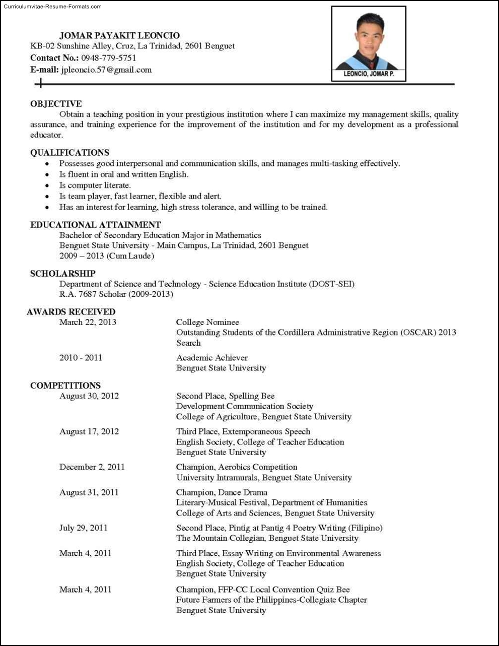 comprehensive curriculum vitae sample