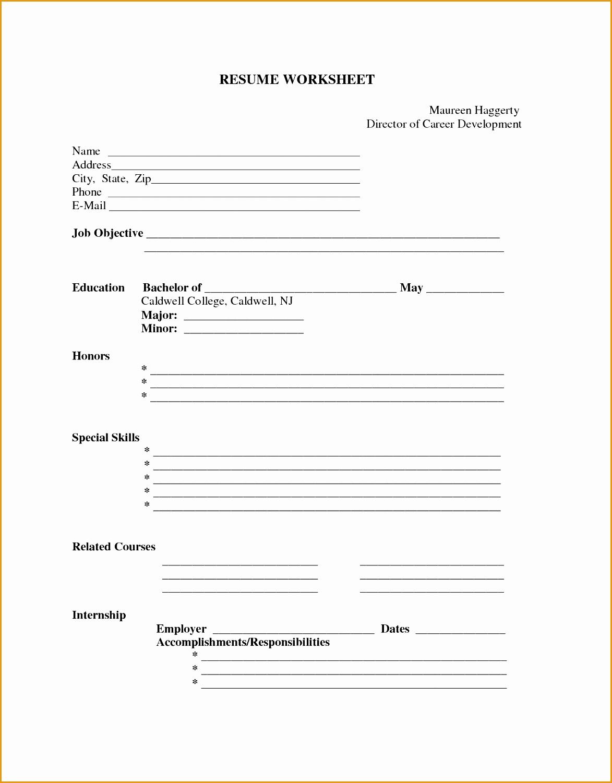 5 Curriculum Vitae Blank Form